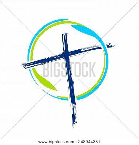 World Ministry Brush Abstract Cross Vector Symbol Graphic Logo Design