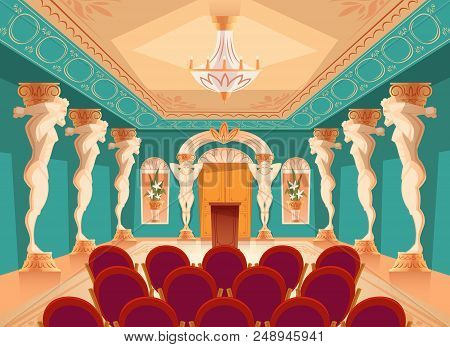 Vector Dancing Hall With Atlas Pillars And Armchairs For Audience, Spectators. Interior Of Ballroom