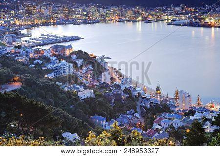 Wellington New Zealand  - Twilight Over Wellington Harbour, New Zealand.