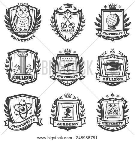 Vintage Educational Coat Of Arms Set With University College And Academy Elements Isolated Vector Il