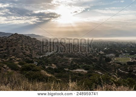 Los Angeles sunrise view towards Porter Ranch and the western San Fernando Valley.  Shot from Santa Susana Pass State Historic Park in Southern California.