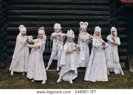 Girls New Ethnic Russian Fashion Vogue Creative Clothes Pose Near Old House, White Dress And Hat, Et