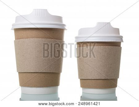 Disposable Cups For Hot Coffee To Takeaway Isolated On White Background