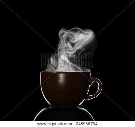 Cup With Hot Drink, Steam Over Cup, Isolated On Black Background