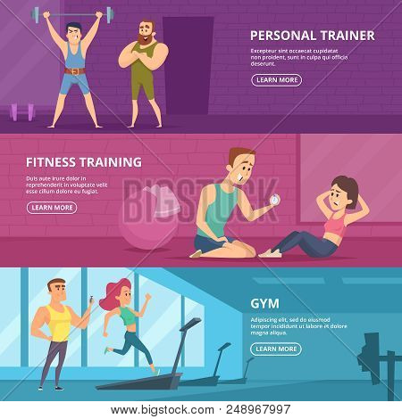 Gym Banners. Advertising Pictures For Gym. Poster Fitness Trainer, Workout Sport, Healthy Training.