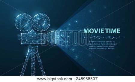 Movie Time. Polygonal Wireframe Movie Projector Show Film At Night On Dark Blue With Stars In Him Li