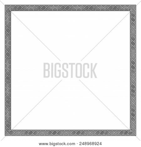 Square Frame Made Of Seamless Meander Pattern. Meandros, A Decorative Border, Constructed From Conti