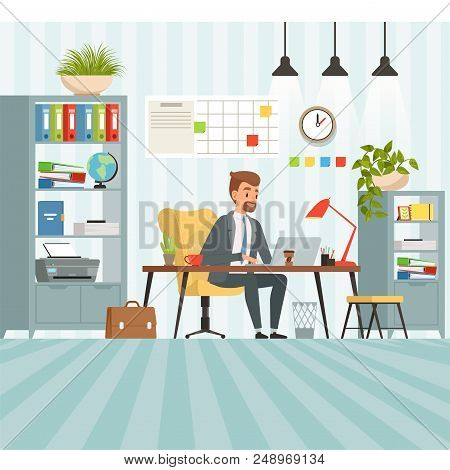 Workspace Of Busy Businessman. Boss Or Company Manager Sitting At Table. Businessman Manager In Offi