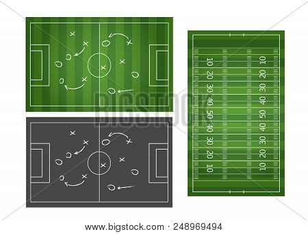 Football Or Soccer Game Strategy Plan Isolated On Blackboard With Chalk Rubbed Background. Football