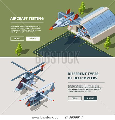 Banners With Airplanes Pictures. Military Isometric Aircrafts. Airbase With Fighter Aircraft, Airpla