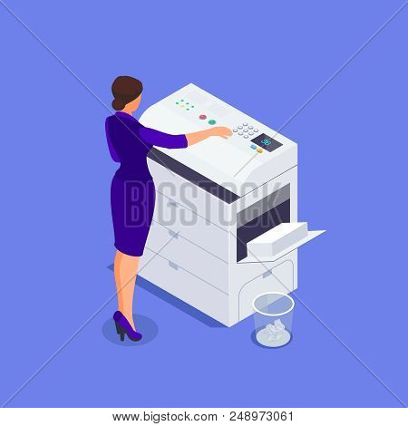 Isometric Office Life Concept. A Woman Works On A Photocopier. 3d Office Worker Makes Copies On The