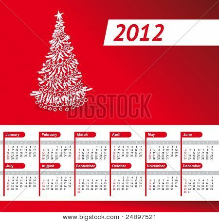 Vector red Calendar of 2012 year with Christmas tree