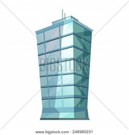 Skyscraper Glass Building Isolated On White. Traditional Attribute Of Big Cities For People Living A