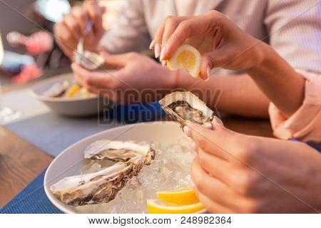 Mediterranean Food. Elegant Woman Loving Gastronomy Feeling Wonderful While Enjoying Eating Mediterr