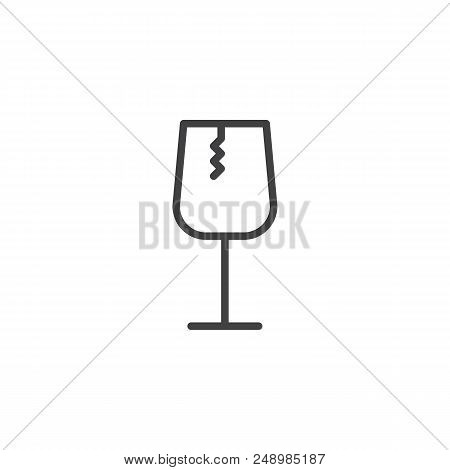 Fragile glass outline icon. linear style sign for mobile concept and web design. Broken glass simple line vector icon. Symbol, logo illustration. Pixel perfect vector graphics poster