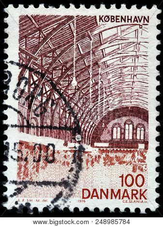 Luga, Russia - June 07, 2018: A Stamp Printed By Denmark Shows Beautiful Interior Of The Central Rai