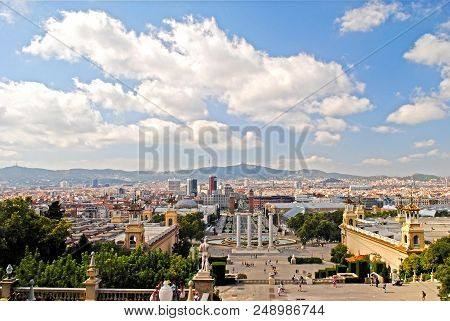 Barcelona, Spain - August 12: Panoramic View Of Barcelona City From  Montjuic On August 12, 2011 In
