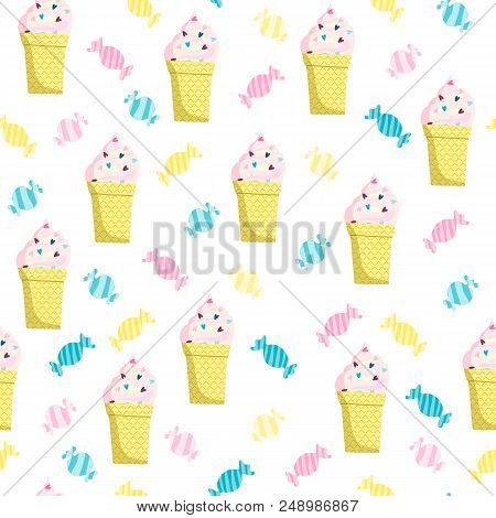 Ice-cream And Candy Seamless Pattern. Stock Vector