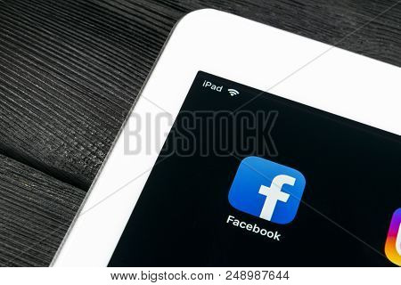 Sankt-petersburg, Russia, July 6, 2018: Facebook Application Icon On Apple Ipad Pro Smartphone Scree