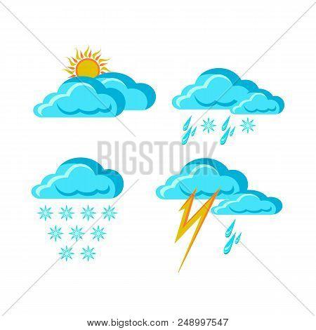 Weather Forecast Signs Symbols Synoptic Weather Forecast App, Snow With Rain, Weather Signs In Flat