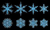 Big black background with blue Christmas snowflakes! poster