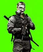 portrait of full armed young soldier against a removable chroma key background poster