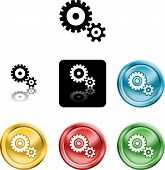Several versions of an icon symbol of stylised cog gears poster