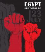 Independence day of Egypt. July 23rd. National Patriotic holiday of liberation in North Africa. Clenched human fist, symbol of the struggle for liberation. Hand-drawn shading. Background with Egyptian tricolor. Vector image poster