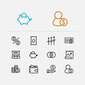 Capital icons set. Broker and capital icons with petroleum, stock news and mutual funds. Set of professional for web app logo UI design. poster