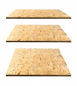 Set of chipboards isolated on white background. Light brown osb panels or pressed and glued wood chips poster