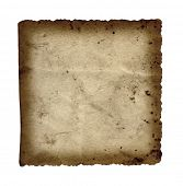 High resolution old, grungy,burned and stained paper vintage background isolated on white poster