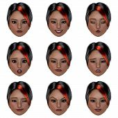 computer generated face with nine expressions Image contains a Clipping Path poster