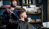 Hipster bearded client getting hairstyle. Barber on cheerful face with hairdryer styling hair of client. Barber with hairdryer works on hairstyle for bearded man, salon background. Styling concept. poster