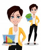 Business woman, freelancer, banker, set of two poses. Beautiful lady in casual clothes holding laptop and holding envelope with money. Vector illustration on white background. poster