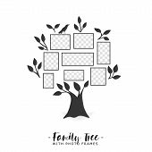 Family tree with photo frames. Memories. Insert your photo into template frames. Collage vector illustration. poster