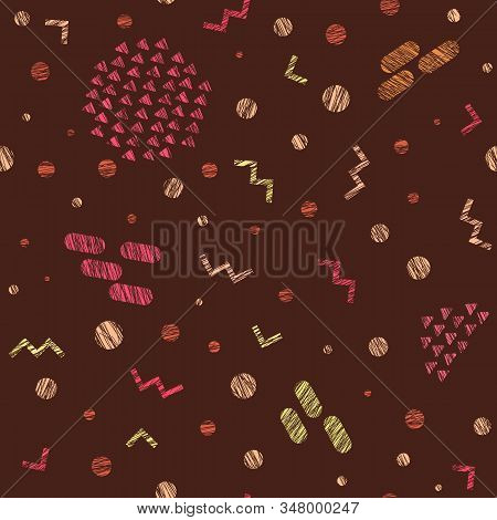 Warm Colors Seamless Pattern. Colorful, Scratchy. Party Texture. Abstract Texture. Shapes And Symbol