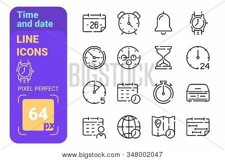 Set 64px Time And Date Simple Lines Icons. Concept Collection Modern Symbols For Clock And Calendar,