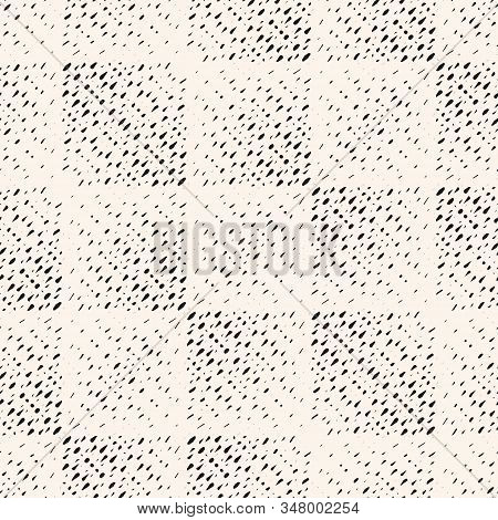 Vector Halftone Seamless Pattern With Grunge Effect. Black And White Geometric Texture With Square T