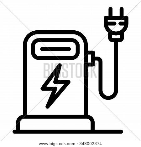 Electric Car Refueling Icon. Outline Electric Car Refueling Vector Icon For Web Design Isolated On W