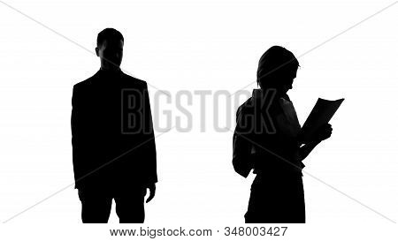 Male Silhouette Looking At Female College With Lust, Dreaming About Relationship