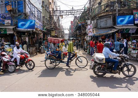 Old Delhi, India - March 4, 2018: Street View Of Chandni Chowk (moonlight Square), One Of The Oldest
