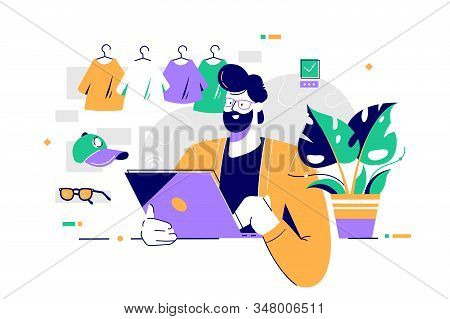Young Happy Bearded Man Using Laptop For Shopping In Online Clothing Store. Concept Smiling Male Cha