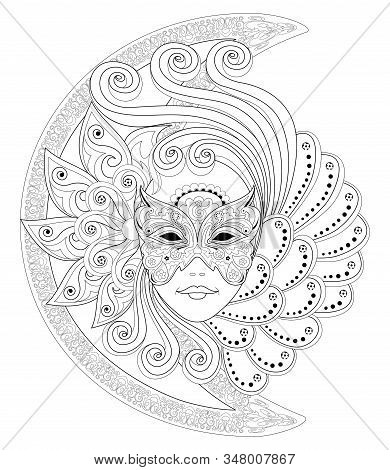 Fantasy Drawing Of Girl Face In Beautiful Venetian Carnival Mask. Black And White Page For Coloring