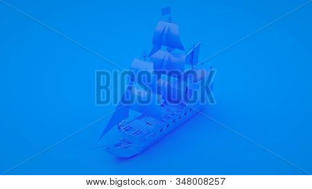 Galleon Ship. Minimal Idea Concept. Blue Toned 3d Illustration.