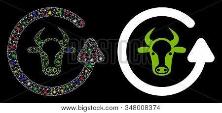 Glowing Mesh Refresh Bull Icon With Sparkle Effect. Abstract Illuminated Model Of Refresh Bull. Shin