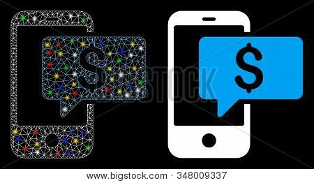 Glossy Mesh Money Phone Sms Icon With Glow Effect. Abstract Illuminated Model Of Money Phone Sms. Sh