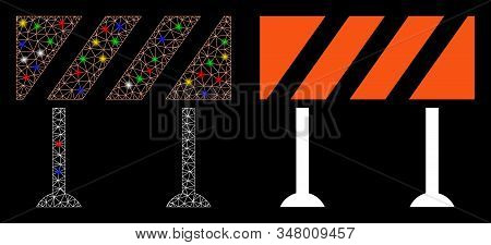 Flare Mesh Barrier Icon With Sparkle Effect. Abstract Illuminated Model Of Barrier. Shiny Wire Frame