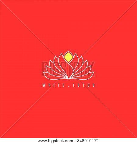Outline (line Art) White Lotus Vector Illustration For Logo Template Design