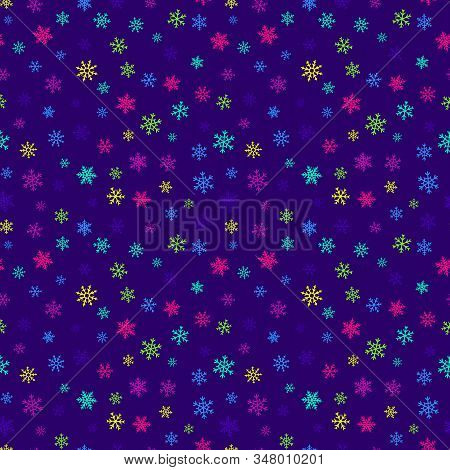 Snowflakes Seamless Pattern. Vector Background With Bright Neon Colorful Snowflakes On Purple Backdr