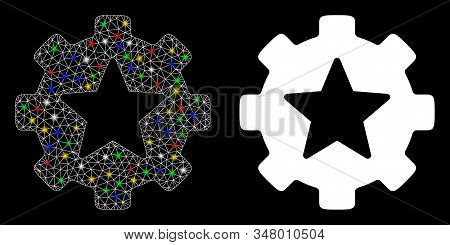 Glowing Mesh Star Favorites Options Gear Icon With Glare Effect. Abstract Illuminated Model Of Star